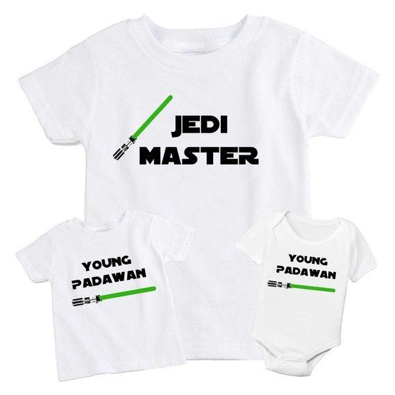 Jedi Master and Padawan Matching T-Shirts, matching Star Wars outfits