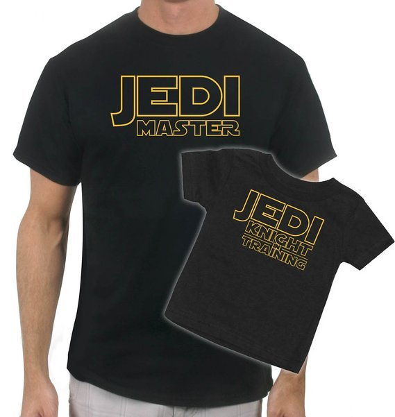 Matching Jedi Master - Jedi in Training - Father & Son T-Shirt, matching Star Wars outfits