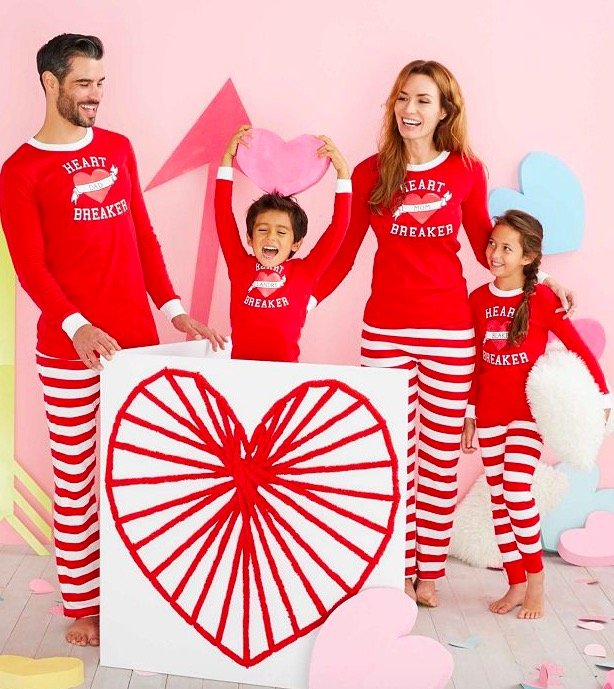 Personalized Family Matching Valentines Day Heart Breaker Pajamas