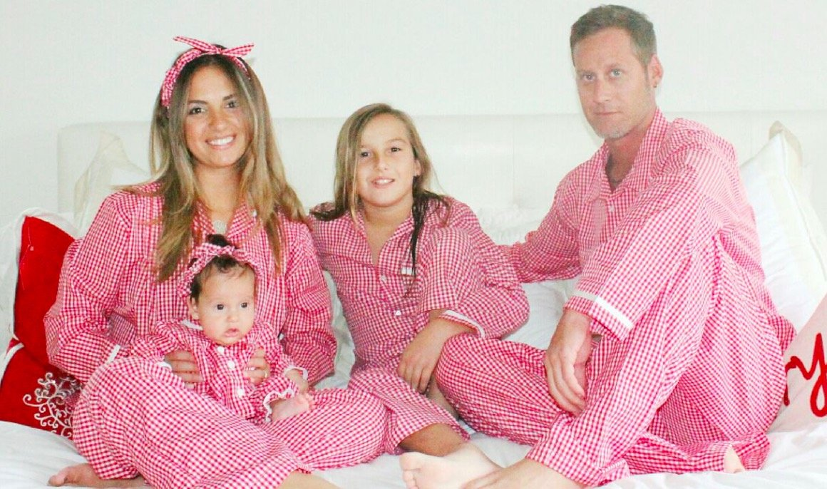 Red and White Gimgham Family Matching Valentines Day Pajamas