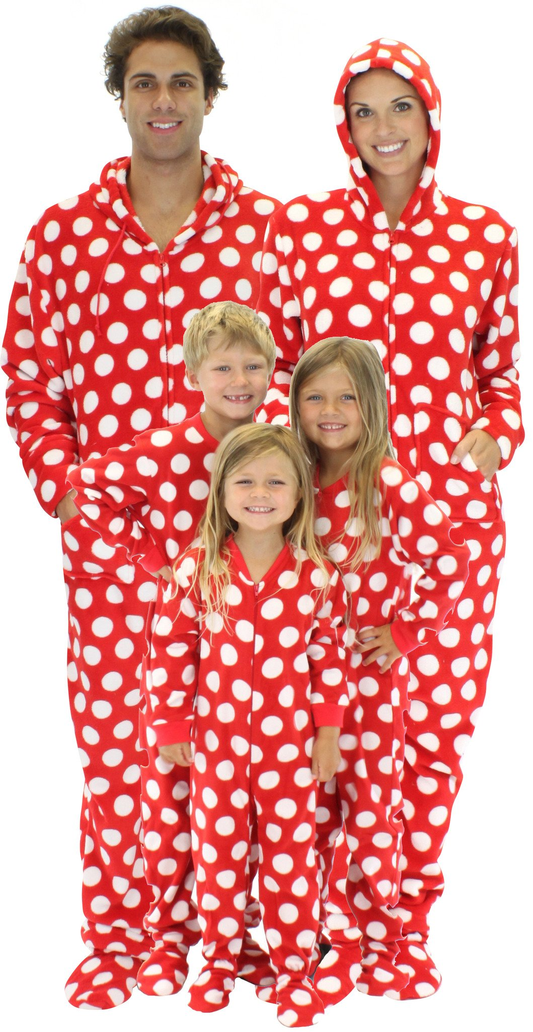 Red and White Polka Dot Footed Family Pajamas