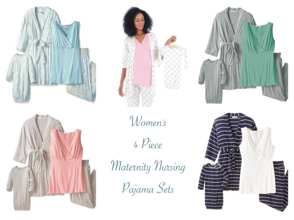 Women's 4 Piece Maternity Nursing Pajama Sets
