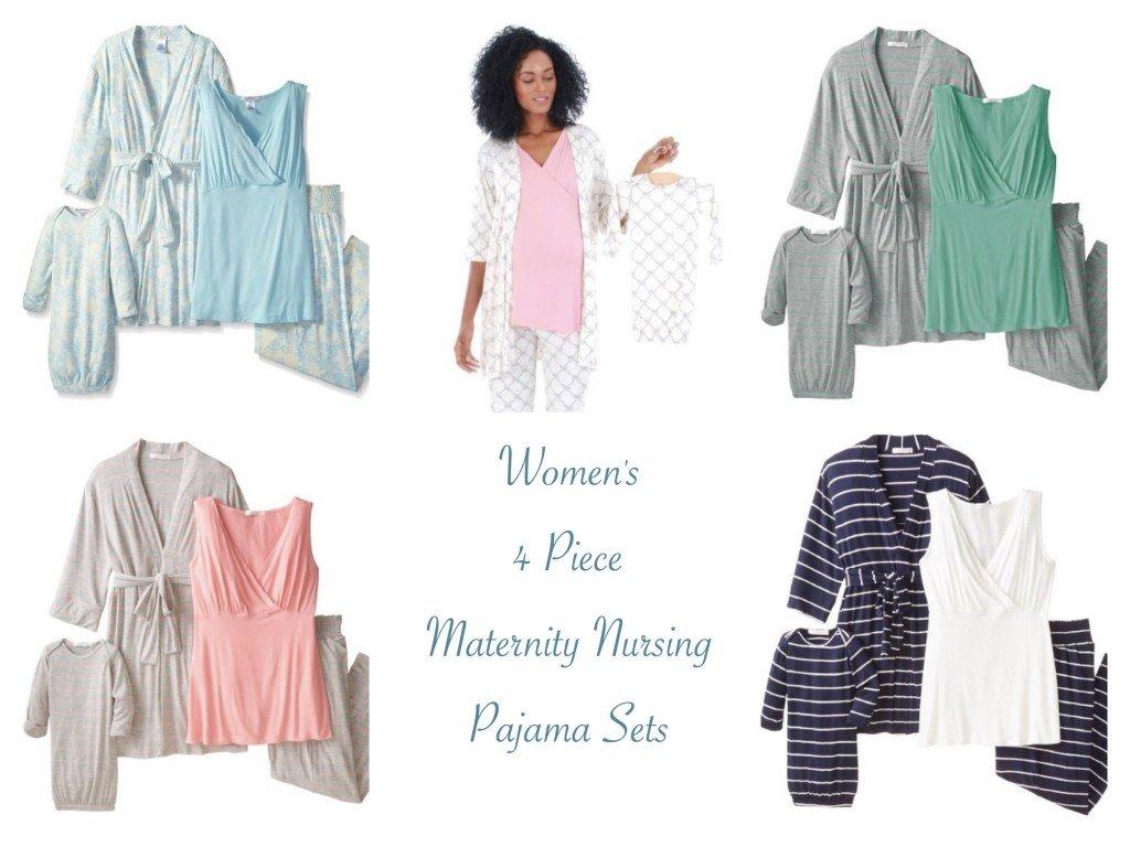 Women's 4 Piece Maternity Nursing Pajama Sets
