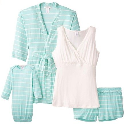 Womens Maternity Nursing 5-Piece Shorts Pajama Set
