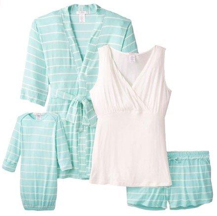 Womens Maternity Nursing 5-Piece Shorts Pajama Set