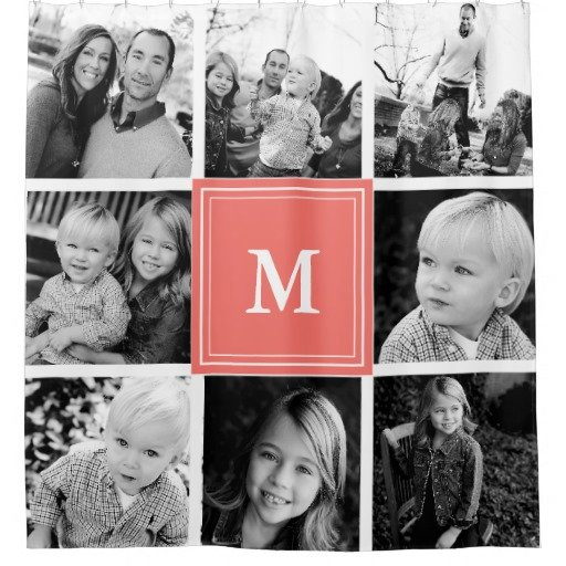 monogram family photo collage shower curtain