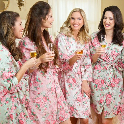 Personalized Bridal Party Matching Cotton Floral Robes