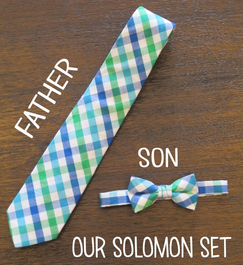 Father Son Matching Tie and Bow Tie Set