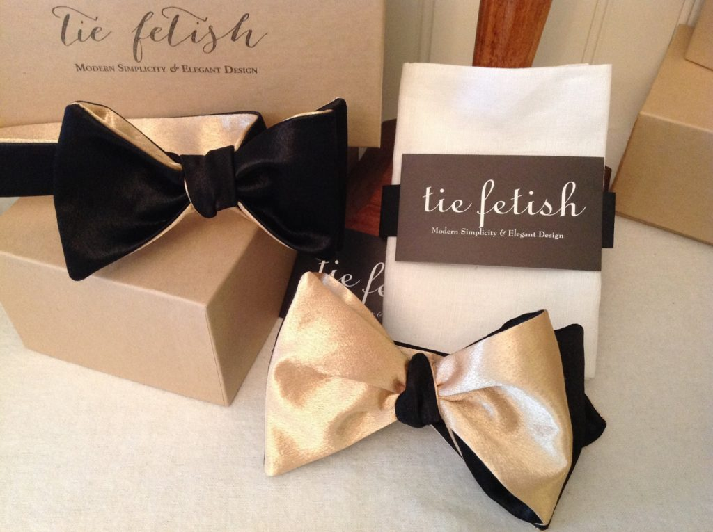 Matching Father and Son reversible gold and black satin bow tie
