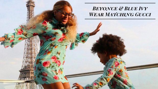 14551ce08 Beyonce & Blue Ivy Wear Matching Gucci Dresses in Paris | MomMeMatch.com
