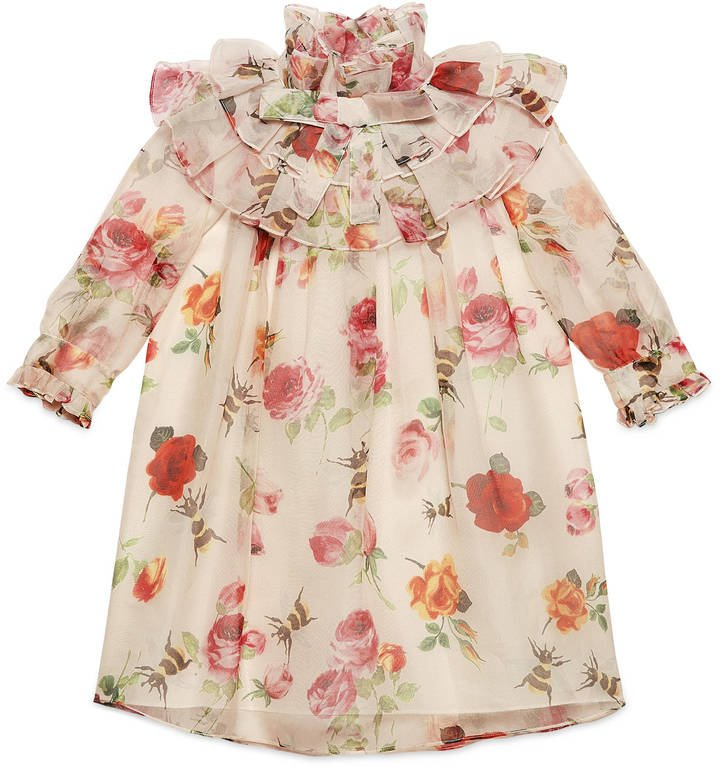 Gucci Girl's Rose Print Organza Dress