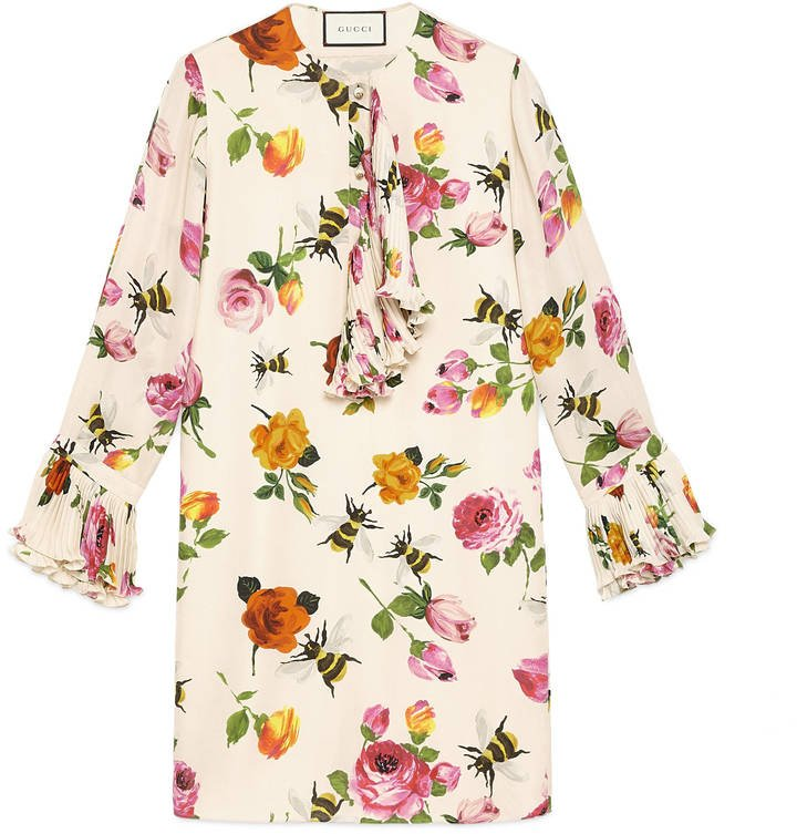 Gucci Rose Print Silk Dress