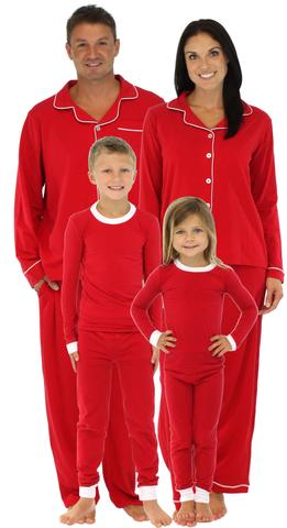 Family Matching Holiday Red Stretch Pajamas