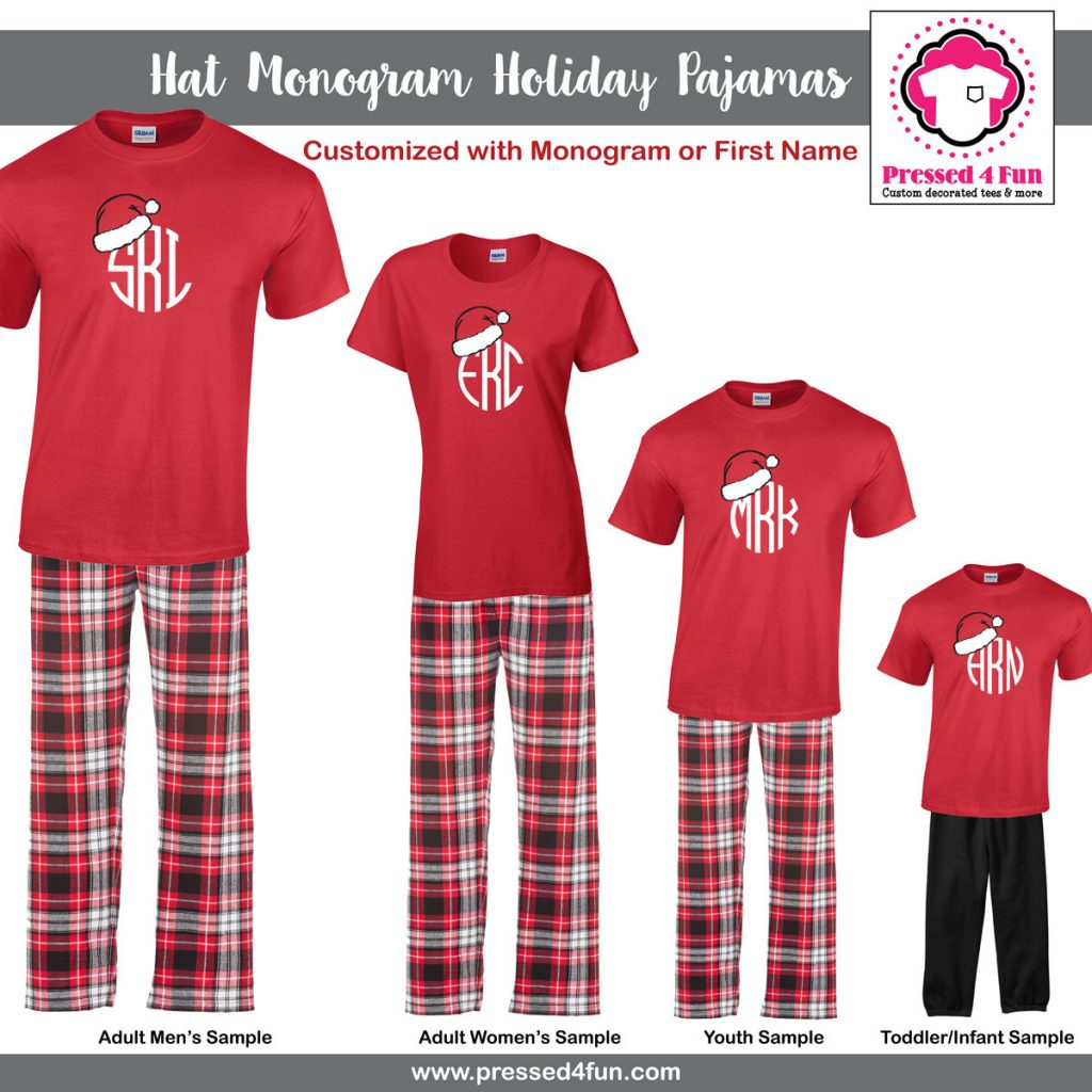 dc881092f1d6 Family Matching Pajamas Hat Monogram Design