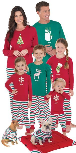 Family Matching Red and Green Holiday Stripe Pajamas