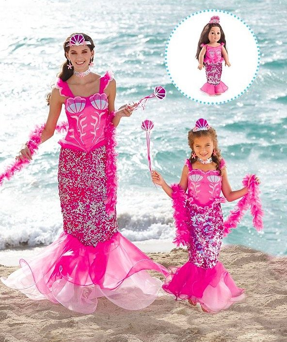 Matching Mother Daughter Doll Pink Fairytale Mermaid Costume
