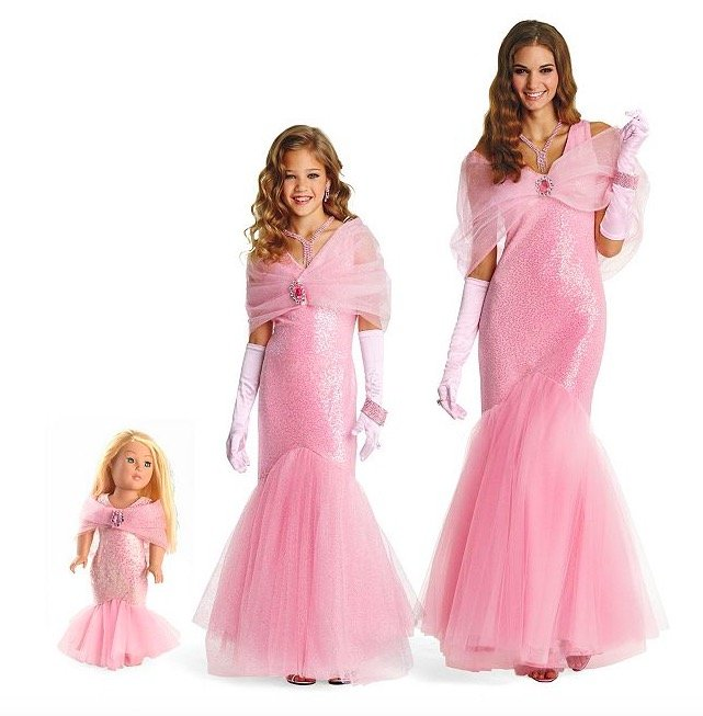 Matching Mother Daughter Doll Pink Movie Star Costume