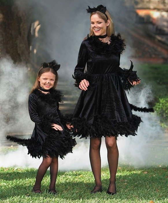 Mother Daughter Matching Black Cat Costumes