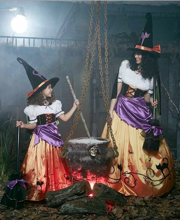 Mother Daughter Matching Vintage Witch Costumes