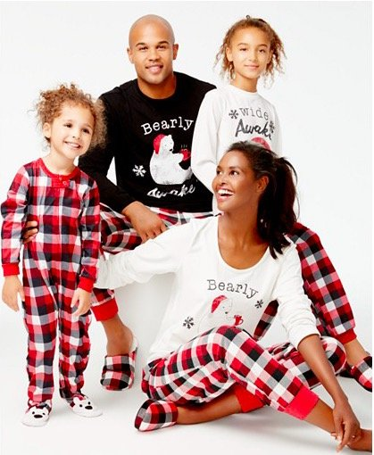 family-matching-buffalo-plaid-bear-pajamas