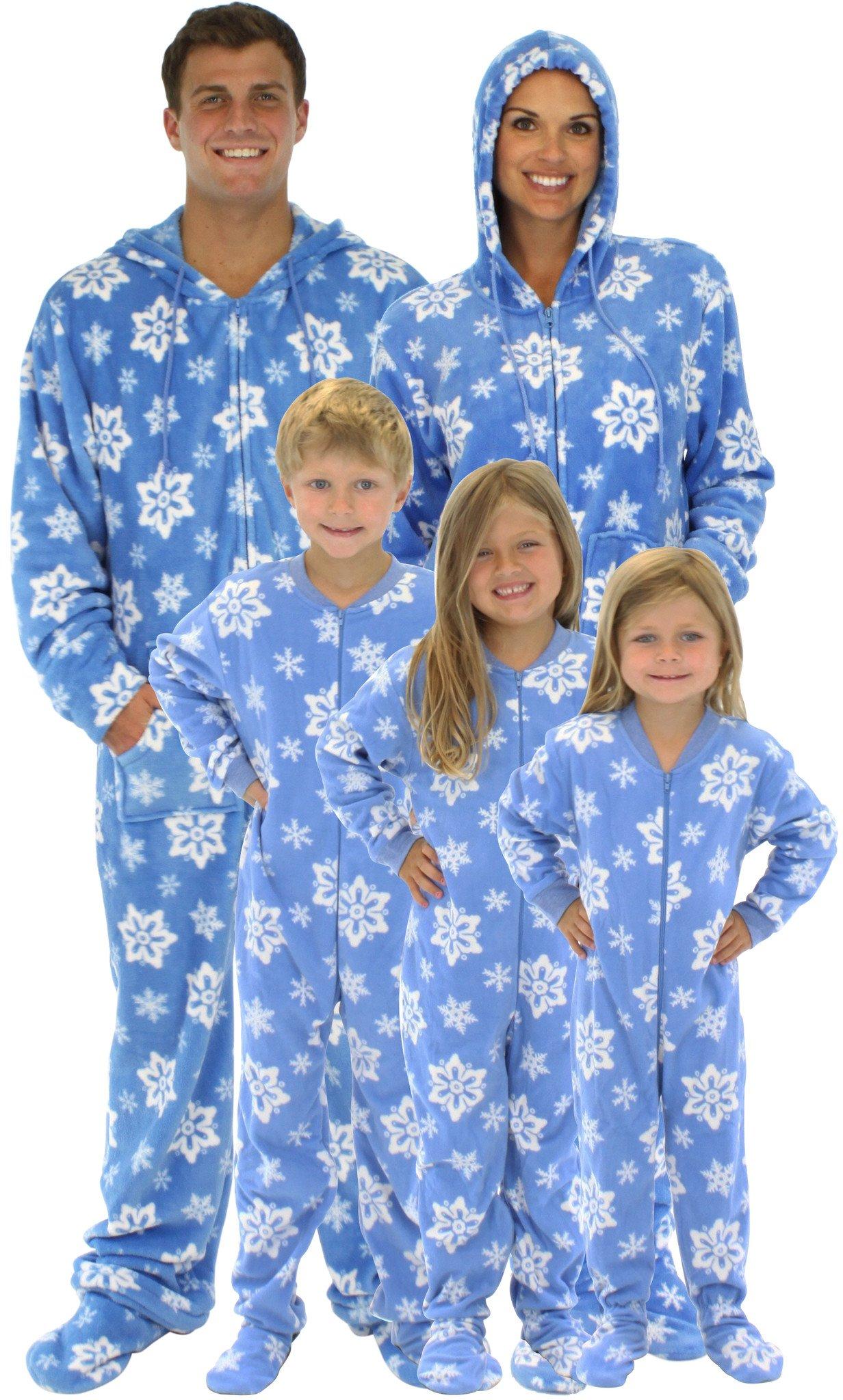 Family Matching Holiday Blue Snowflake Fleece Onesie