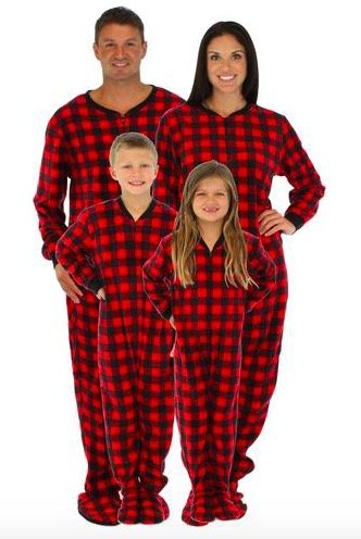 Family Matching Holiday Red Plaid Fleece Onesies