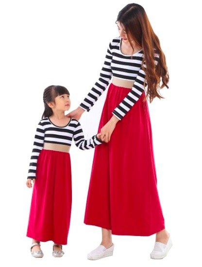 Mother Daughter Black White and Red Dresses, mommy and me budget friendly matching dresses
