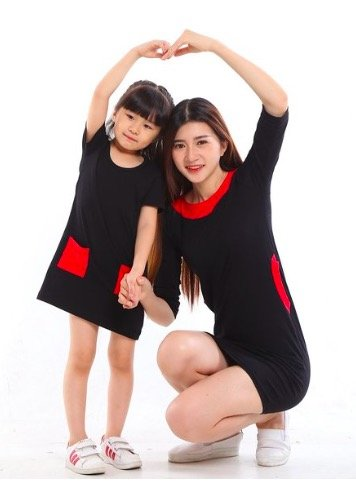 Mother Daughter Matching Black and Red Dresses, budget friendly matching dresses