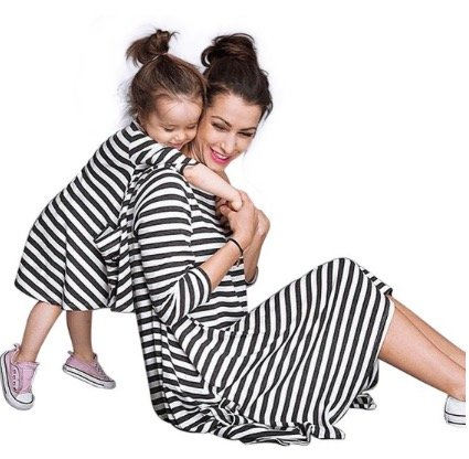 Mother Daughter Black and White Striped Dresses, mommy and me budget friendly matching dresses