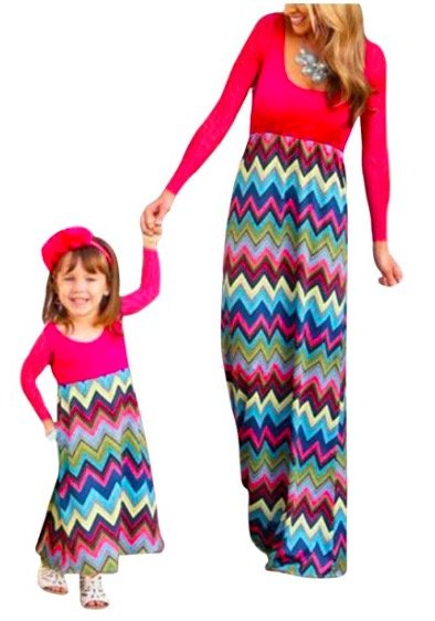 Mother Daughter Matching Multi-Color Chevron Maxi Dresses, mommy and me budget friendly matching dresses