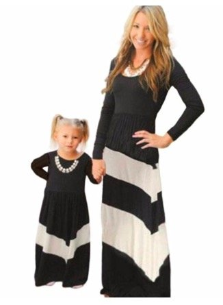 Mother Daughter Black White Maxi Dresses, mommy and me budget friendly matching dresses