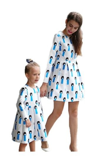 Mother Daughter Matching Porcelain Doll Dresses, mommy and me budget friendly matching dresses
