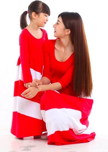Mother Daughter Red and White Chevron Striped Dresses, mommy and me budget friendly matching dresses