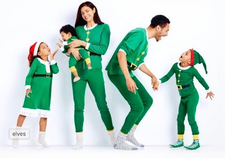 Elves Organic Cotton Family Matching Holiday Pajamas