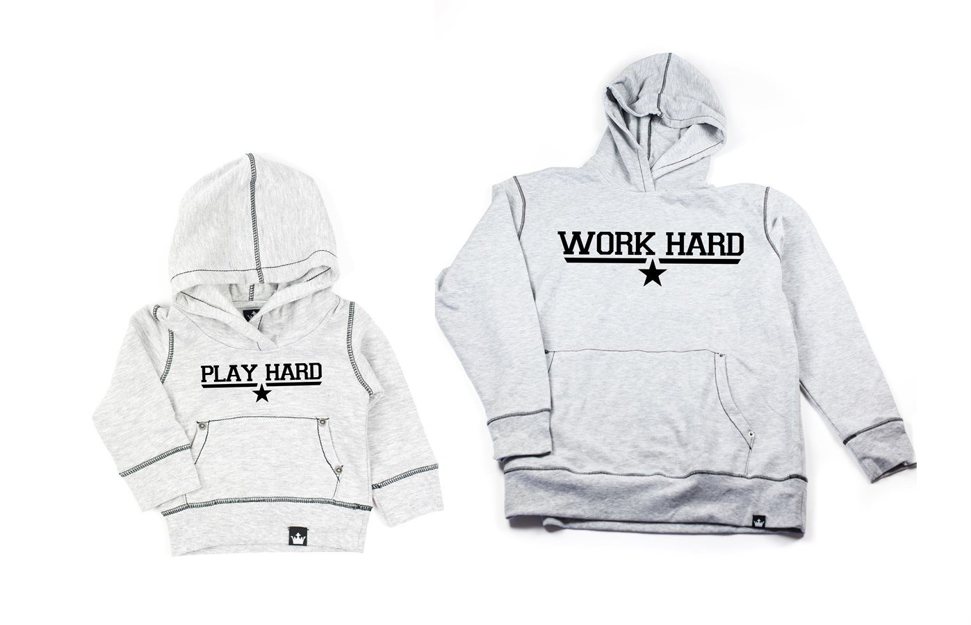 Matching Daddy & Me Graphic Hoodies Work Hard & Play Hard