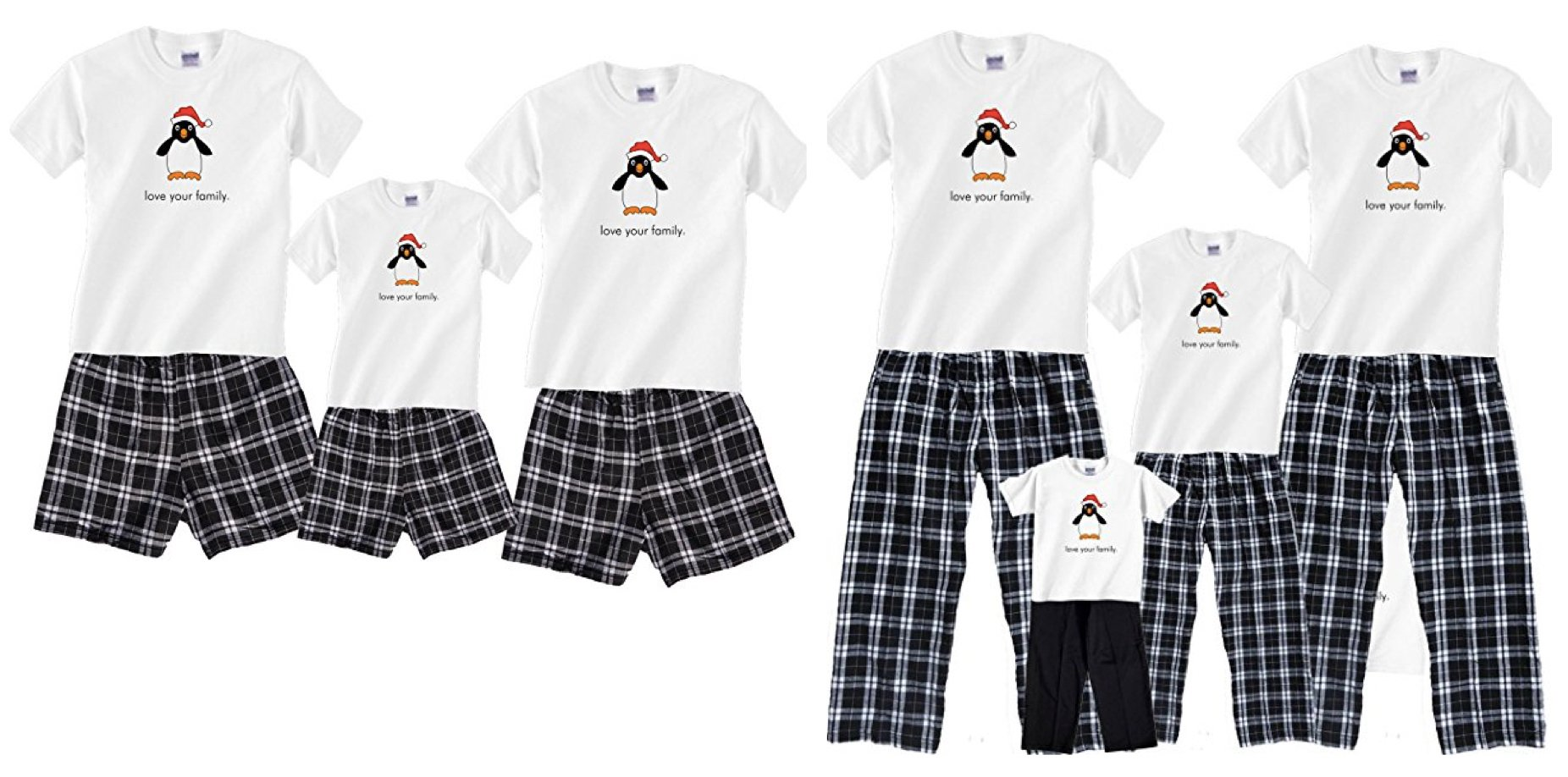 Matching Family Penguin Boxer Short Holiday Pajamas, Summer Christmas Matching Family Pajamas