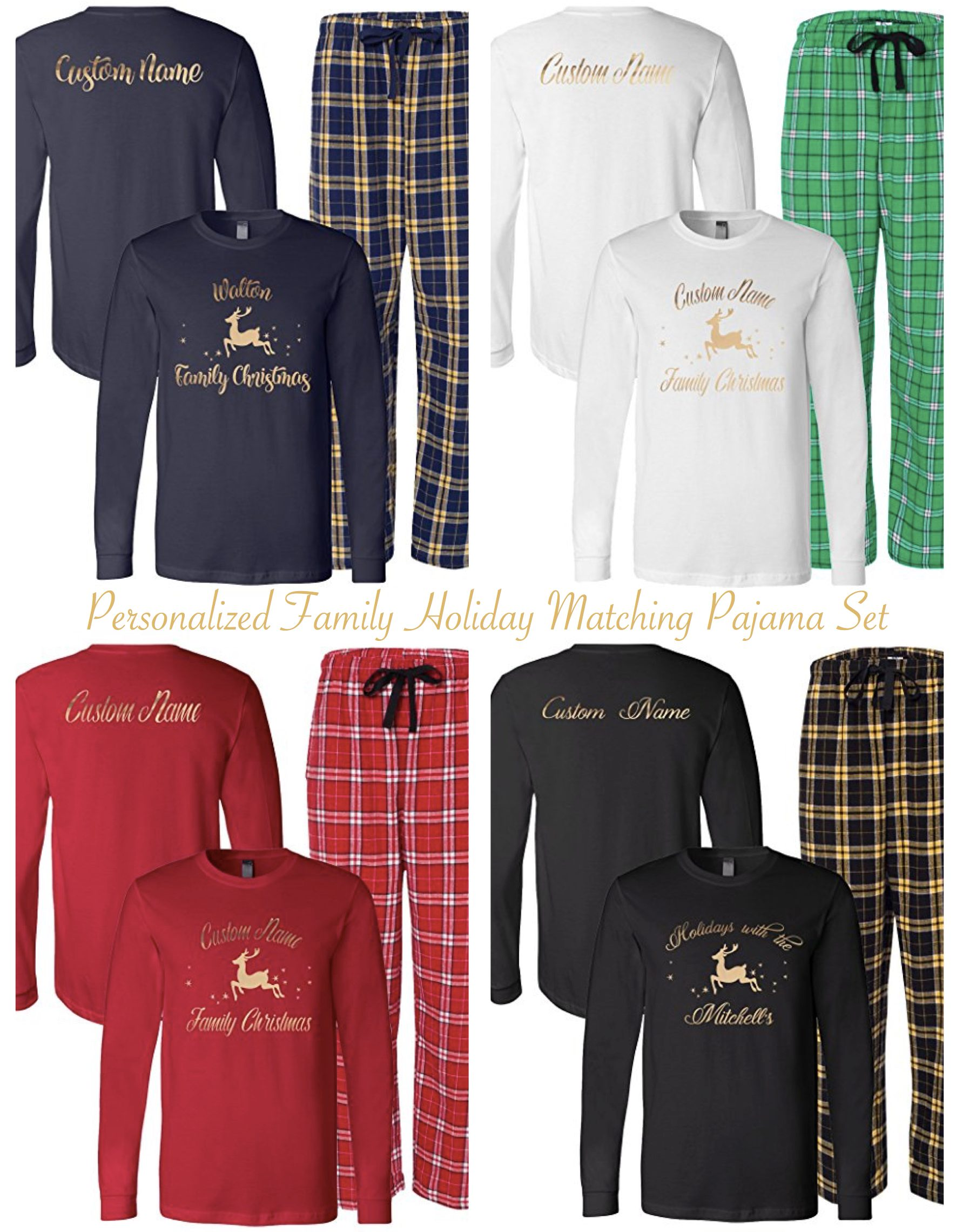 Personalized Family Matching Holiday Pajama Sets
