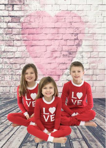 LOVE kids Valentines Day pajamas