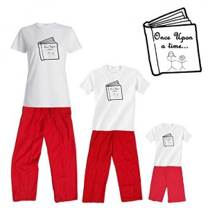Mommy and Me Matching Storytime T-Shirt and Red and White Swiss Dot Pant Set