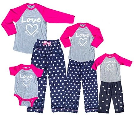 Pretty Pink Heart Mommy Me Baby Baseball Polka Dot Loungewear Sets