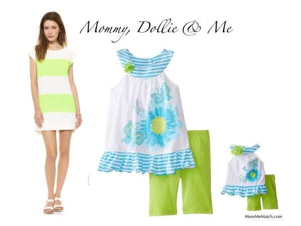 Mommy, Dollie & Me Lime Green Outfits