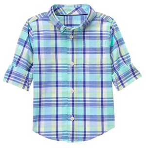 Robin's Egg Plaid Boys Shirt, Mommy & Me Matching Spring Outfits