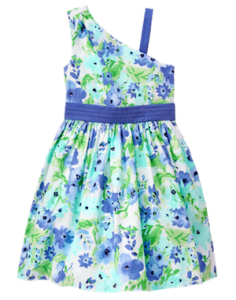 Watercolor Blue 1 Shoulder Girls Floral Dress, Mommy & Me Matching Spring Outfits