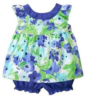 Watercolor Blue Floral Baby Girl 2 Piece Set, Mommy & Me Matching Spring Outfits