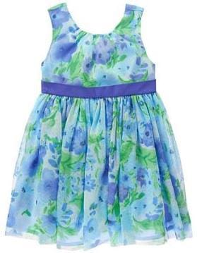 Watercolor Blue Girls Tulle Dress, Mommy & Me Matching Spring Outfits