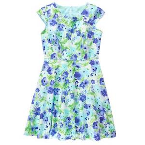 Watercolor Blue Mom Floral Dress, Mommy & Me Matching Spring Outfits