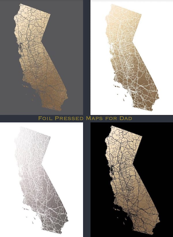Elegant Fathers Day Gifts, Foil Pressed Maps for Dad