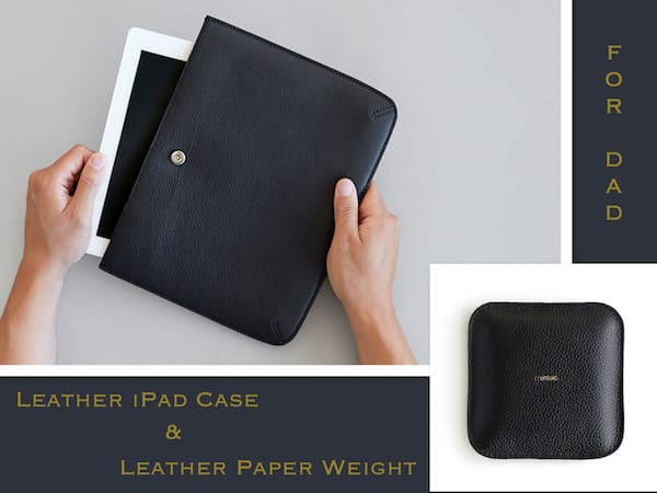 Elegant Fathers Day Gifts, Leather Accessories >> Leather iPad Case & Leather Paper Weight