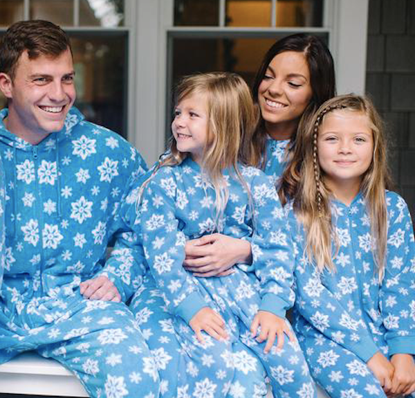 Blue Snowflake Fleece Onesie Family PJs