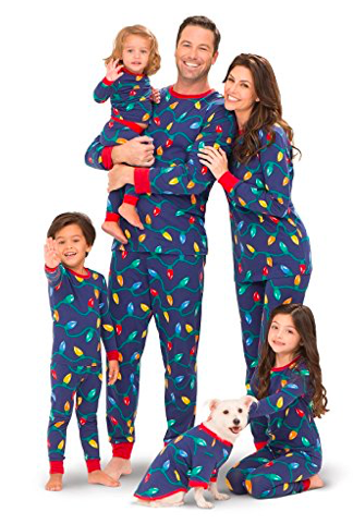 1324b7a640 Christmas Lights Matching Family Pajamas Navy Blue Dots and ...